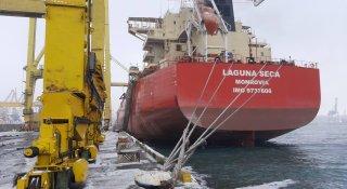 Через погодні умови тимчасово припинено обробку судна на першому вантажному районі ДП «МТП «Чорноморськ»