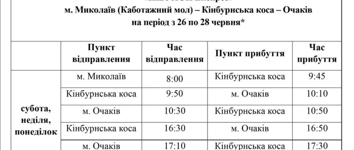 """""""Нібулон"""" оприлюднив графік перевезень на Кінбурнську косу з 26 по 28 червня"""