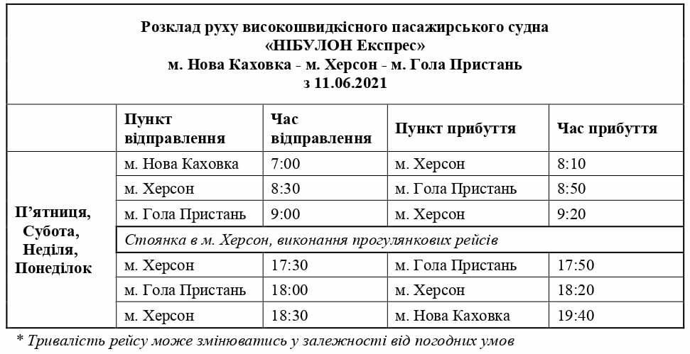 З 11 червня стартують пасажирські перевезення Дніпром за маршрутом Нова Каховка – Херсон – Гола Пристань