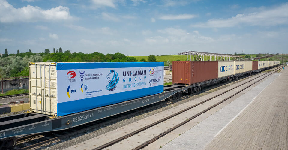 Перший контейнерний поїзд Гуанчжоу прибув на термінал DP World TIS Pivdennyi